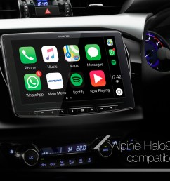 alpine halo9 compatible with a myriad of vehicles with single din and double din slots  [ 2048 x 1152 Pixel ]