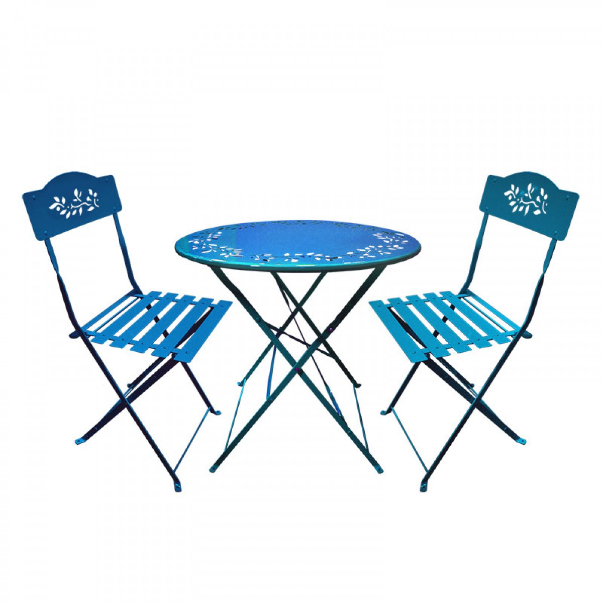 blue bistro chairs ikea wooden metal set table and two