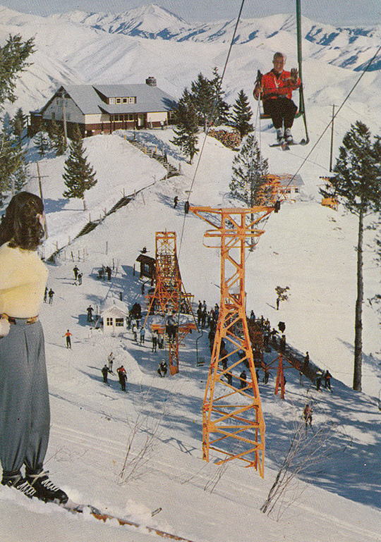 sun valley idaho ridge chairlift vintage postcard roundhouse baldy mountain
