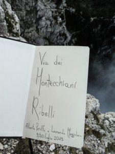 Il Libro di Via sulla Parete Nord del Baffelàn, luglio 2015.