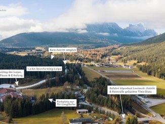 Der anschauliche Lageplan der Snowfarming Loipe in Leutasch. // Foto: Olympiaregion Seefeld