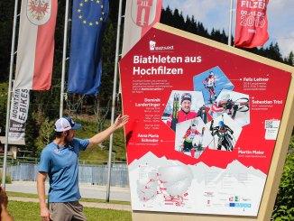 Der Biathlon-WM-Pfad in Hochfilzen, präsentiert von Dominik Landertinger. // Foto: SMPR
