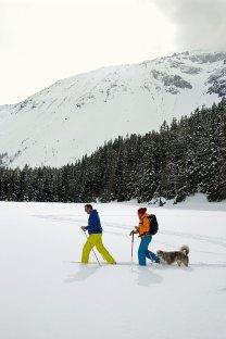 Schneeschuhwandern in Tirol in Obernberg am Brenner mit Hund