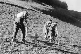 Die Menschen haben die Alpen an vielen Stellen in eine Kulturlandschaft umgewandelt. Dafür war früher sehr viel Handarbeit nötig, deren Resultate man heute noch in der Landschaft erkennen kann.