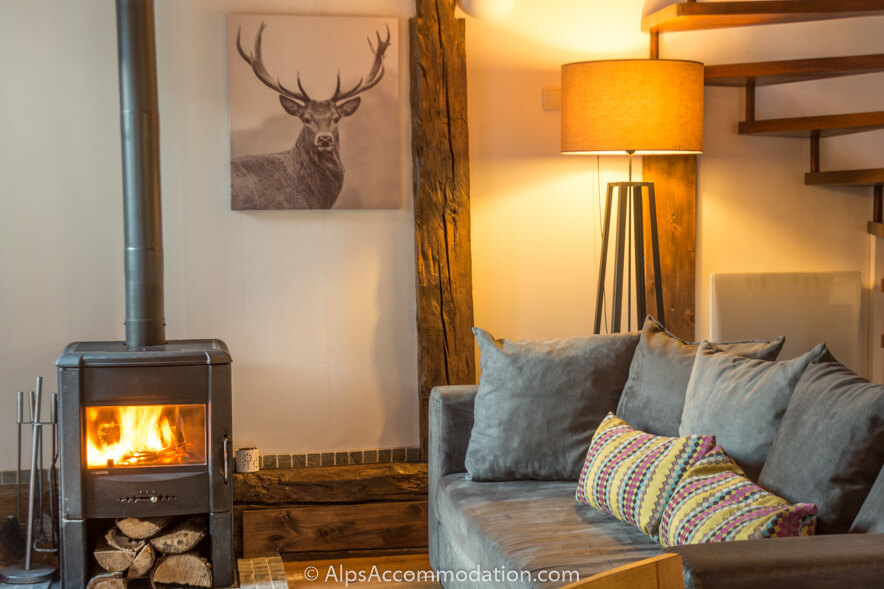 cosy living room with log burner rooms to go sofa the mazot samoens french alps area comfortable and