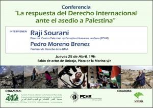 Cartel de conferencia 'La respuesta del derecho internacional ante el asedio a Palestina'