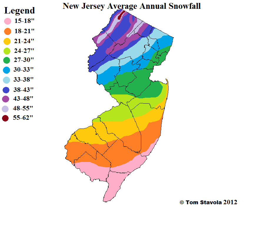 Avg NJ Snowfall Map
