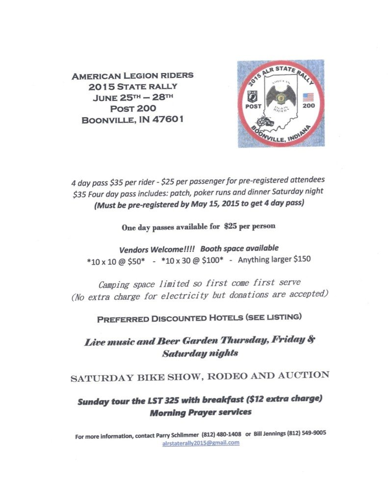2015 Indiana ALR State Rally Flyer
