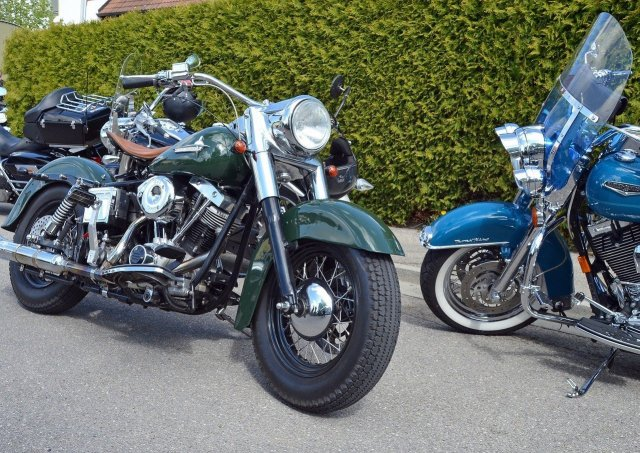 Parked H-D motorcycles