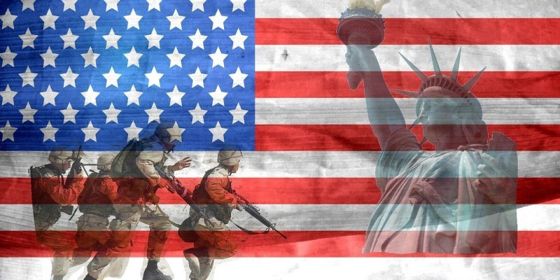 Soldiers with American Flag Backdrop