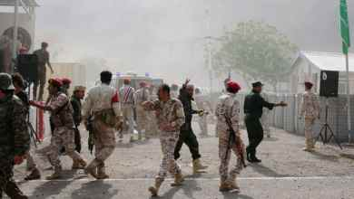 ضحايا الهجوم الصاروخي على معسكر للجيش الوطني اليمني في مأرب