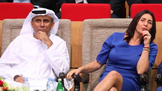 وزيرة الثقافة الإسرائيلية مع رئيس جمعية الجودو الإماراتية لدى مشاركة وفد اسرائيلي في بطولة للجودو في أبو ظبي