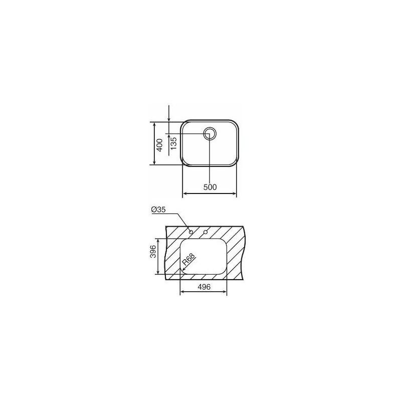 Fregadero Teka BE 5040 Plus en acero inoxidable de una cubeta bajo encimera para instalar en mueble de 60 cm
