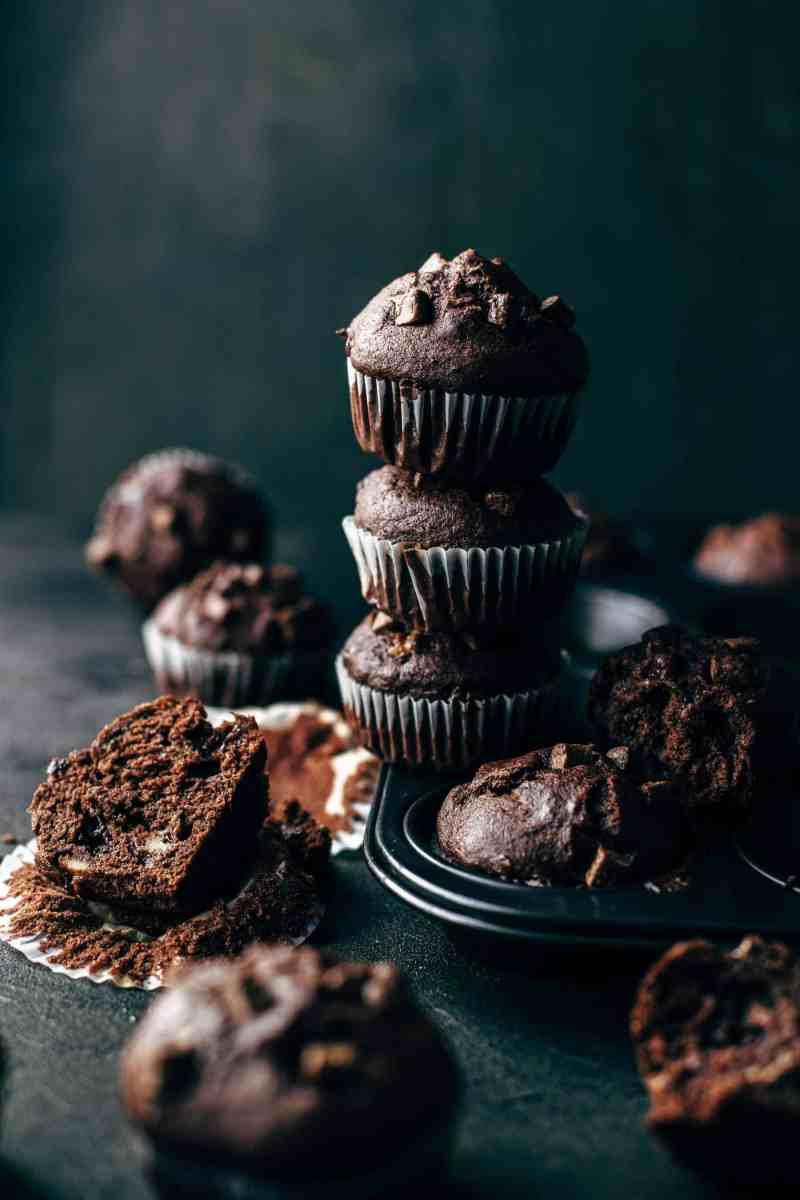 Soft and Moist Chocolate Banana Muffins
