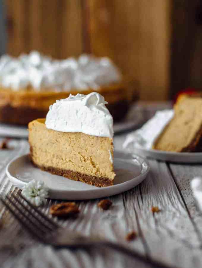 A slice of Sweet Potato Cheesecake with Marshmallow Meringue