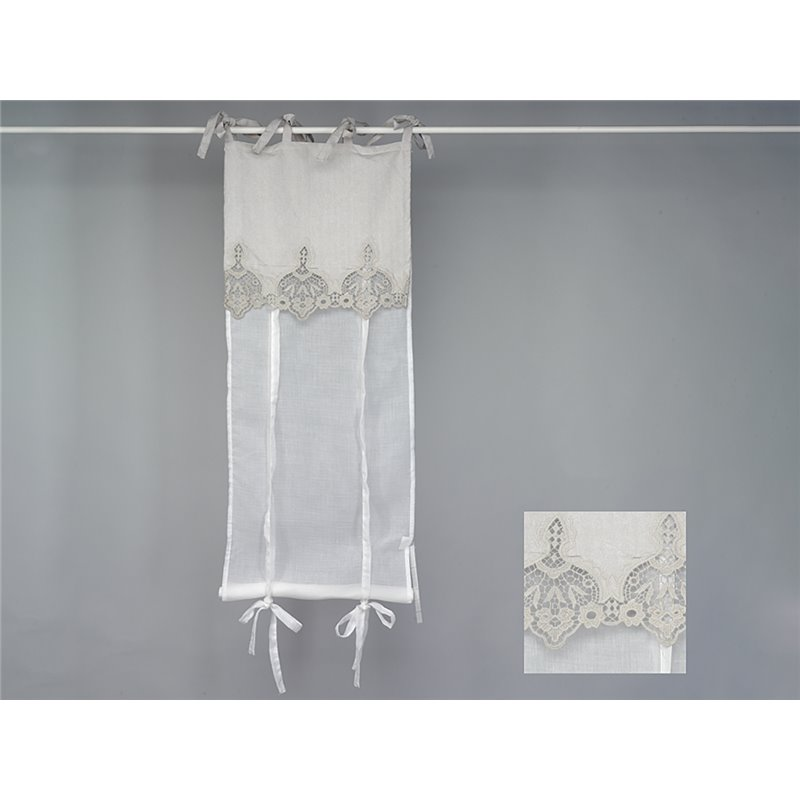 details sur rideau store en voilage blanc et dentelle beige grisee simla neuf