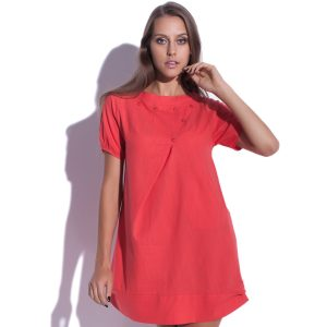 Robe en lin mini Quiddity rouge