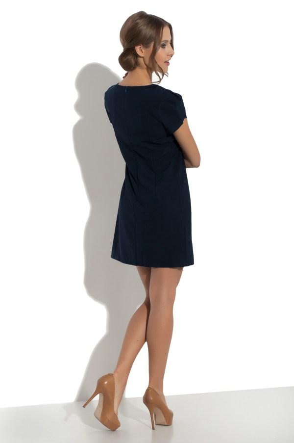 Sukienka mini z falbanami granatowa Fervent model back