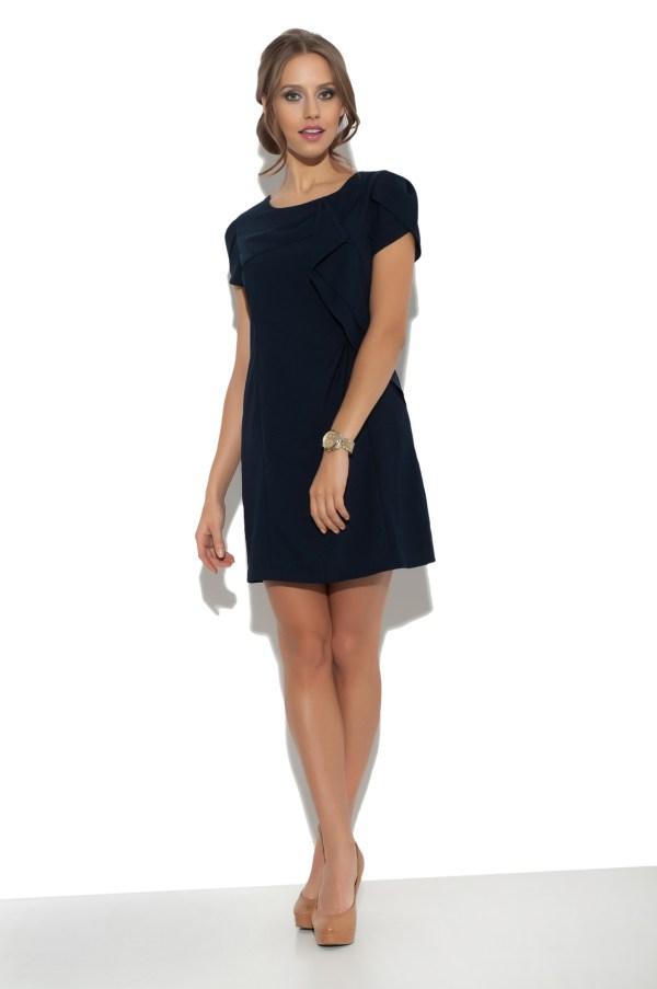 Sukienka mini z falbanami granatowa Fervent model front