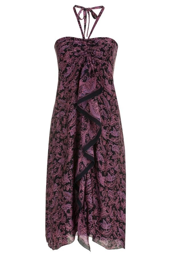 Sukienka jedwabna midi, podkreślająca dekolt, wiązana na szyi, packshot front