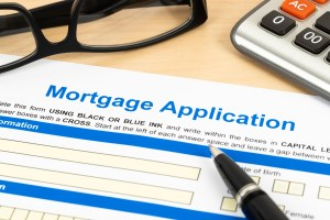 Mortgage application form, financial concept