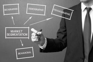 Business man writing Market segmentation, business management st