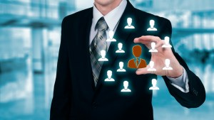 Customer care, insurance, care for employees, human resources, employment agency and marketing segmentation concepts. Leader manage his team.