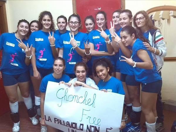 Le giocatori della Leonessa mostrano i braccialetti per la campagna «Free Ghoncheh»