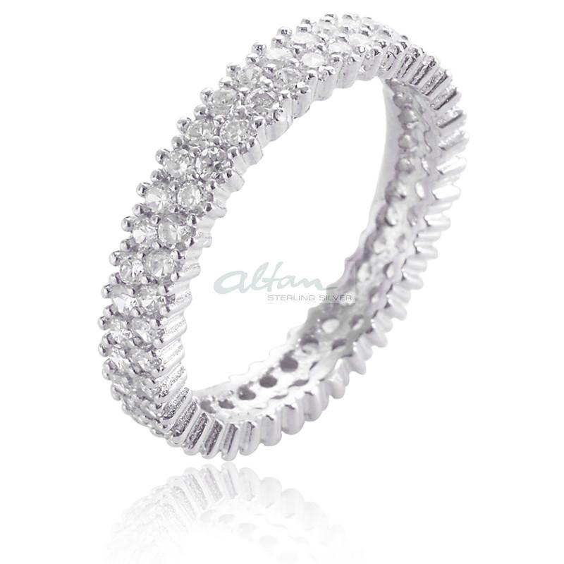 Ring Sternenhimmel schmal  Silber Ring Zirkonia