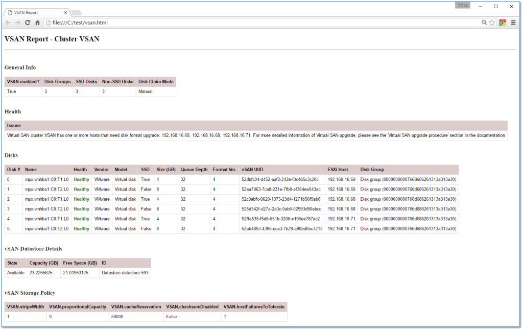 How to generate a VSAN HTML Report with PowerCLI