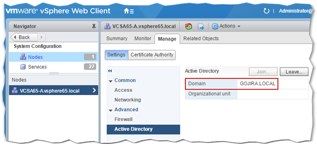How to join vCenter Server to Active Directory