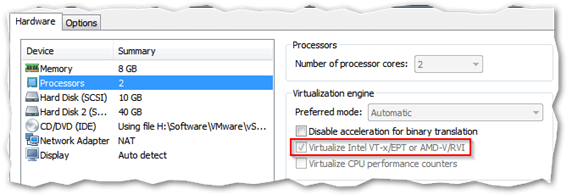 enable the Virtualize Intel VT-x