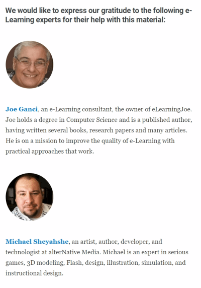 Screenshot from iSpring article that expresses iSpring's gratitude to eLearning experts.