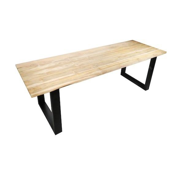 Mesa de comedor de madera de teca con acabado natural y
