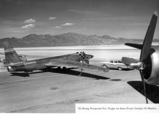 U2 seen from a USAF transport plane at Area 51, 1957