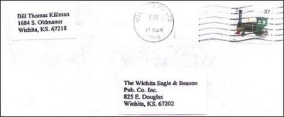 Letter to Wichita Eagle March 17, 2004 containing pictures of the body of Vicki Wegerle