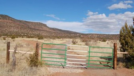 The gated entrance to the Church of Scientology New Mexico underground base