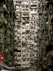 Clothing covering balconies in Kowloon Walled City
