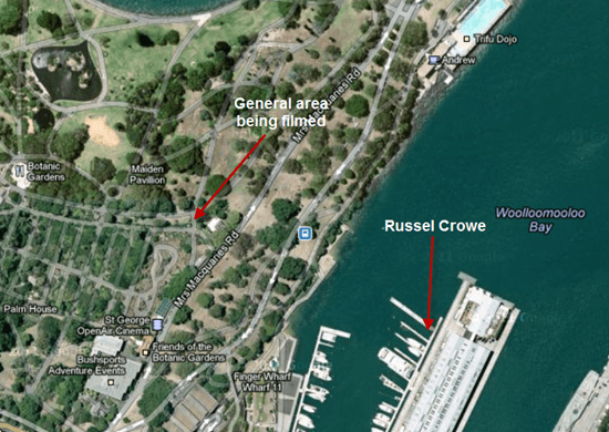 Map of the area where the Russell Crowe UFO video was shot