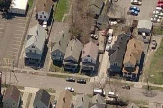 Aerial views of Ariel Castro house in Cleveland