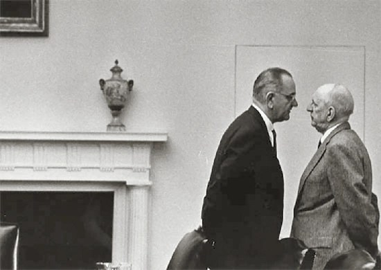 President Lyndon Johnson with Senator Richard Russell at the White House, December 7, 1963, Washington, DC.