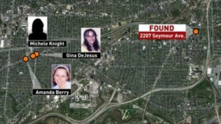 Map showing where three Ohio women were last seen and where they were found