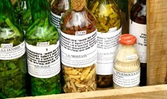 African witchdoctor spells in colored bottles