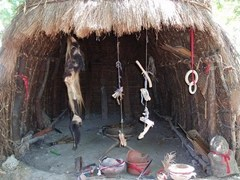 African witchdoctor hut with muti ingrediants hanging in entrance