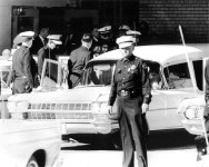 Jackie entering the ambulance to leave Parkland Hospital (body taken to Air Force One at Love Field)