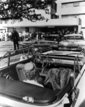 Crowd at Parkland Hospital after the JFK assassination - Mrs. Earle Cabell seated in the car in the foreground