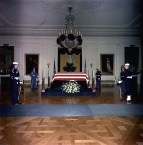 JFK casket lies in the East Room of the White House on November 23, 1963