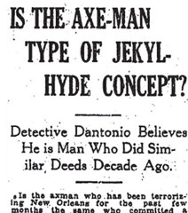 Newspaper headline - Is the Axe-Man type of Jekyl-Hyde concept?