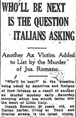 Newspaper headline - who will be the Axeman's next victim?