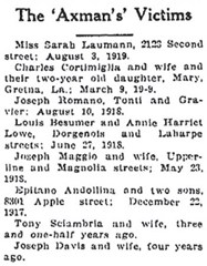 Newspaper listing Axeman victims